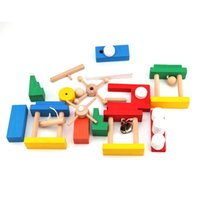 construção de dominó venda por atacado-Bricks Building Toy Criança De Madeira Colorida Enigma Educacional Toy Set 120 pcs Domino Padrão + Órgão + Código Cartão de Construção bloco
