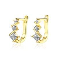ingrosso orecchini a diamanti a vite-Orecchini moda tre modelli di diamanti imitazione placcato oro mosaico zircone clip-on vite orecchini accessori prom regalo POTALA129