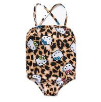 Wholesale leopard grain suit resale online - Kids Bows cat printed suspender swimsuits fashion girls leopard grain one piece swimming children cartoon beach bathing suit F6511
