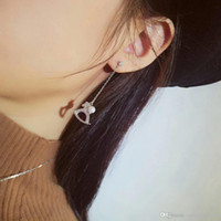 Wholesale models diamond studs for sale - Group buy HEFANG Jewelry Long Hanging Earrings Explosion Models Sterling Silver Inlay A Zirconium Diamonds Shell Pearls Wooden Horse Studs