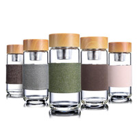 Wholesale glass water bottles resale online - 350ML Glass Water Bottles Heat Resistant Round Office Car Cup With Stainless Steel Tea Infuser Strainer Tumbler New Arrival DHL Free