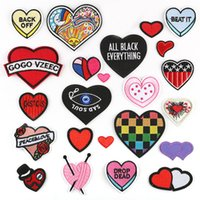 Wholesale LOVE Clothing Patches Iron on Stripes for Badges Stickers on Clothes Hearts Embroidery Appliques G