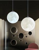 ingrosso ce palla-Lampada a sospensione a forma di mezzaluna con stampa 3D nordica Lampada da sospensione a soffitto moderna semplice e creativa E27 E26