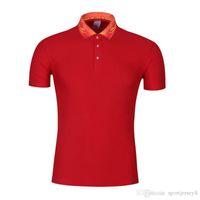polo vermelho branco azul venda por atacado-Homens do padrão retro do colar azul e branco porcelana lapela manga curta Sportswear Red Polo uniforme JH-998-097