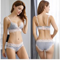 b09912a1d233 Sexy Lace Triangle cup Bra Sets For Women Soft Cotton Breathable  Comfortable Underwear Wire Free Floral Lace Bralette Briefs Set