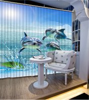 Wholesale shower curtain fish resale online - Luxury D Window Curtain living room Shower HooksSubmarine sand fish Curtains blackout Tapestry Custom size