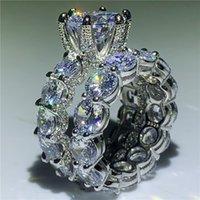 döşeli bant toptan satış-Vintage yüzük Açacağı ayar 5A zirkon Cz 925 Ayar gümüş Kadınlar Için Nişan Düğün Band Yüzük set Gelin bijoux