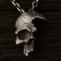 Wholesale crow necklace pendant resale online - 2020 Explosions Retro Half Skull Necklace Metal Skull Pendant Gothic Jewelry Choker Pendant Crow Chain Skeleton Trendy