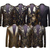 i̇ngiliz tarzı dekorasyon toptan satış-Avrupa Amerikan tarzı erkek altın damgalı takım elbise ceket sahne kostümleri yıldız İngiliz tarzı büyük boy batı dekorasyon siyah