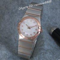 женские наручные часы оптовых-Известный бренд Classic 4 размера пара кварцевые часы роскошные двухцветные розовое золото стальной ремешок бабочка застежка сапфировые женские наручные часы 17