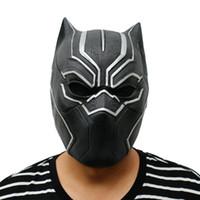 máscara de látex para homens venda por atacado-Hot New Black Panther Papéis Máscaras Filme Cosplay Adultos Halloween Máscara dos homens realísticos máscara de látex festa