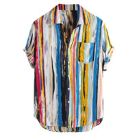 многоцветные блузки оптовых-2019 New Men Shirts High Quality  Stylish Mens Multi Color Lump Chest Pocket Short Sleeve Round Hem Loose Blouse My17