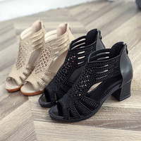 Wholesale wedding shoes sandals crystal heels for sale - Dress Shoes Women Fashion Crystal Hollow Out Peep Toe Wedges Sandals High Heeled Women s Wedding Party Sexy High Heels