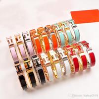 brazaletes de oro de plástico al por mayor-Nuevas pulseras de diseñador Mujeres Hombres Moda de lujo Esmalte Brazaletes Joyería Acero inoxidable Oro Rosa Plata Brazalete