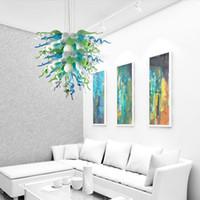 candelabros populares al por mayor-De calidad superior Popular Araña Rústica Bombillas LED Sala de estar Lámparas Colgantes Mano Lámpara de Cristal Soplado Iluminación