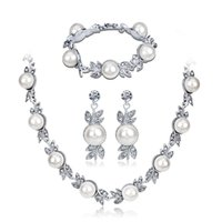 Wholesale led costume woman for sale - Group buy Bridal Necklace Wedding Costume with Necklace Set Temperament Inlay Pearl Bridal Necklace Three Piece Set hair accessories for women