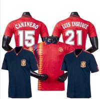 Wholesale spain soccer blue jersey resale online - 1994 Spani retro jersey Spain World Cup RAUL XAVI ABELARDO LUIS ENSRIQUE JOAQUIN ALONSO jersey