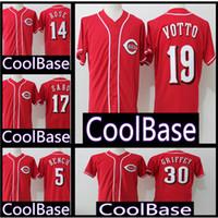 Wholesale red barry online - 19 Joey Votto Cincinnati Reds Jersey Chris Sabo Barry Larkin Pete Rose Johnny Bench Jerseys Cheap