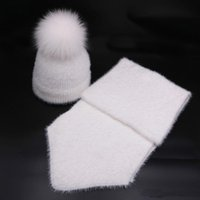 Wholesale mink fur knitted hat for sale - Group buy New Arrival Vintage Warm Fur kids Hat Scarf Set Winter Thickening Knitted Imitation Mink Fur pompom Beanies baby Caps Scarves suit