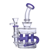 percolador de agua de vidrio en línea al por mayor-7 '' Dab Rig Glass Bong Reciclador en niveles Bongs Bubbler Pipa de agua Cachimbas Percolador en línea Percolador Con Cuarzo Banger o Herb Slide Bowl