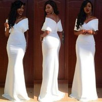 kurzarm taft brautjungfer kleider groihandel-Wholesle weiße Nixe-Brautjungfer Kleider lang weg von der Schulter afrikanischer Hochzeitsgast Kleid-Qualitäts-Satin-Frauen-Partei-Kleider