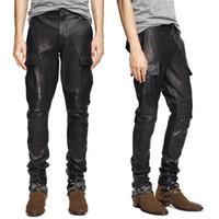 pantalones de cuero de la motocicleta al por mayor-Pantalones masculinos de cuero negro motocicleta flaco Biker Faux Leather Pu Pocket Cargo pantalones para hombres de cuero Cothing