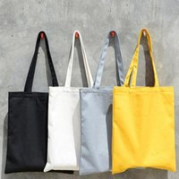 Wholesale folding shopping bag polyester for sale - Blank Painting Folding Fashion Shopping Bag Tote Reusable Eco Bag Canvas Tote Bag Grocery Handbags ColorsLJJS112