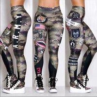 drop ship leggings impressos venda por atacado-Exército das mulheres Impresso Leggings Elásticas de Fitness Cintura Alta Subir Meninas Leggins Global Drop Shipping Leggings Y19072901