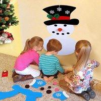 decoraciones de muñeco de nieve de navidad al por mayor-Decoración de Navidad para DIY fieltro del muñeco de nieve ornamentos colgantes regalos de Año Nuevo puerta de la pared cuelgan de Navidad Niños Accesorios RRA2080