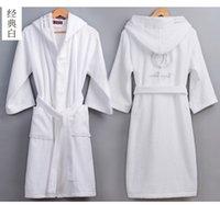 toalha de banho venda por atacado-Alta Qualidade dos homens de Inverno Roupão de Banho Masculino Longo e Grosso Quente Toalha de Terry Roupão Vestir Casal Casa de Banho Com Capuz Robes