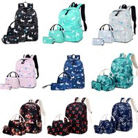 Wholesale canvas floral lunch bag for sale - Group buy Student Shoulders Backpacks Design Flamingo Unicorn Handbag Lunch Bag High capacity Casual Backpacks Three Piece Set Back To School