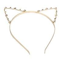 perle d'or cheveux achat en gros de-Oreille de chat mignon bandeau perlé bande de cheveux en métal de mode perle or argent pour les filles femmes libre dropship en gros