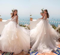 Wholesale maternity wedding dresses for sale - Tiered Skirt Summer Beach Wedding Dresses A Line V Neck Sexy Open Back Lace Wedding Bridal Gowns Maternity Wedding Dress BC0512