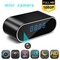 versteckte nachtsicht ip-kamera großhandel-1080p Wifi Mini Kamera Zeit Alarm Wireless Nanny Clock P2P IP / AP Sicherheit Nachtsicht Bewegungserkennung Home Secret versteckt Tfcar C19041901