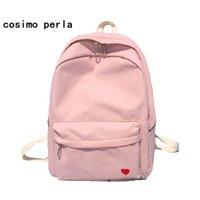 sacs à dos rose clair achat en gros de-Sacs à dos en nylon plaine mignon pour l'école adolescente style coréen couleur unie broderie coeur rose sac à dos pour ordinateur portable femme Voyage # 43835