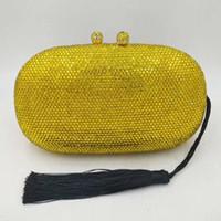 bolso de mujer amarillo al por mayor-Bolsos de embrague de cristal amarillo para mujer Bolsos de mensajero de cadena de borla negra Bolsos de moda para mujer Cena Bolsos de hombro