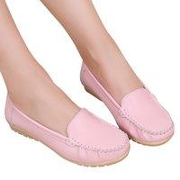 piel de pelle al por mayor-Zapatos de vestir de diseñador YOUYEDIAN Mujer damas bombas tacones bajos Mocasines de cuero genuino Slip On Zapato scarpe donna vera pelle estive # 3
