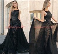 Wholesale gold evening dresses online - Trendy Lace Overskirt Arabic Sheath Evening Dresses Black Saudi Plus Size African Prom Formal Pageant Celebrity Party Gowns