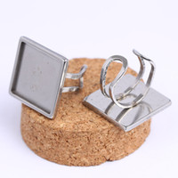 Wholesale bezel ring base for sale - Group buy shukaki stainless steel adjustable fit mm square cabochon ring base settings diy blank bezel basis for rings jewelry making