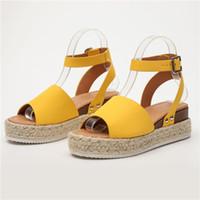 ingrosso paglia di paglia-Sandali Scarpe con zeppa Donna Plus Size Scarpe estive Flip Flop Chaussures Femme Sandali con plateau in paglia