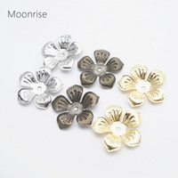 Wholesale flower findings jewelry resale online - 50pcs mm Silver Charm Flower Filigree Loose Spacer Beads End Caps Crafts Finding Jewelry Making DIY HK122