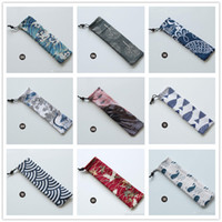 Wholesale japanese casing for sale - Group buy Japanese Style Portable Tableware Storage Bag Travel Drawstring Cutlery Bag Portable Case For Straw Spoon Fork Knife