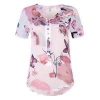 düğme bluzları kısa kollu toptan satış-Kadın Yaz Kısa Kollu Gevşek Düğme Baskılı Şifon Üst Bluz blusas blusas mujer de moda 2019 bayan tops ve bluz