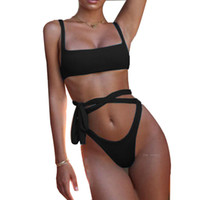 d984ee628f026 2019 Sexy Bikinis Solid Bandage Swimsuits Swimwear Women Halter Brazilian Bikini  Beach Bathing Suits Biquini Monokini Swim Suit