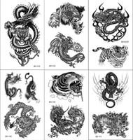 gefälschte drachentätowierungen großhandel-Black Tiger und Dragon Temporäre Tattoos für Männer Fake Tattoo 3D Sticker Tätowierung Temporaire Junge Tätowierung Temporaire Körper Arm Art