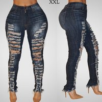 jeans denim mujer azul oscuro al por mayor-3500 # Azul oscuro S-2XL Moda para mujer Ripped Hole Denim Jean cintura baja jeans ajustados Mujeres Jean Pantalones