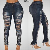 ingrosso jeans denim donne blu scuro-3500 # Blu scuro S-2XL Donna Fashion Ripped Hole Denim Jean jeans skinny a vita bassa Donna Jean Pantaloni
