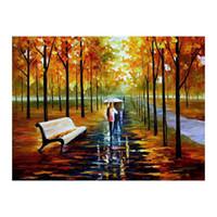 pintura al óleo árboles forestales al por mayor-36x48 Abedules Camino forestal Salón sofá fondo decoración de la pared pintura lienzo pintado a mano pintura al óleo Afremov