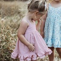 säuglingsstrand kleidung großhandel-Einzelhandel Baby Mädchen Kleider Säugling Hosenträger plissiert rückenfreies Strandkleid Kinder Kleidung Mädchen Sommer Baumwolle Party Prinzessin Kleid Dancewear