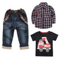 Wholesale boys suspender t shirts for sale - Group buy 3PCS Children Boys Shirt Plaid Overshirt T Shirt Suspender Jeans Pants
